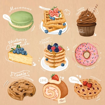 Collection de desserts dessinés à la main