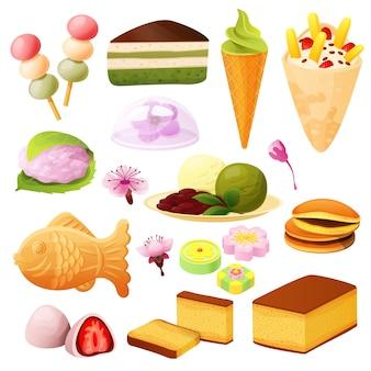 Collection de desserts japonais, sur blanc, menu de cuisine asiatique, illustration