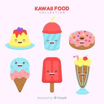 Collection de desserts sucrés adorable dessinés à la main