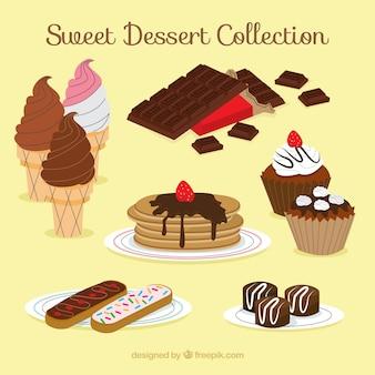 Collection de desserts sucrés dans un style dessiné à la main