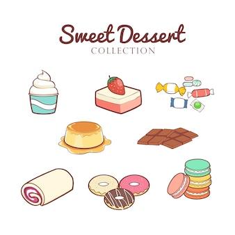 Collection de desserts sucrés dessinés à la main