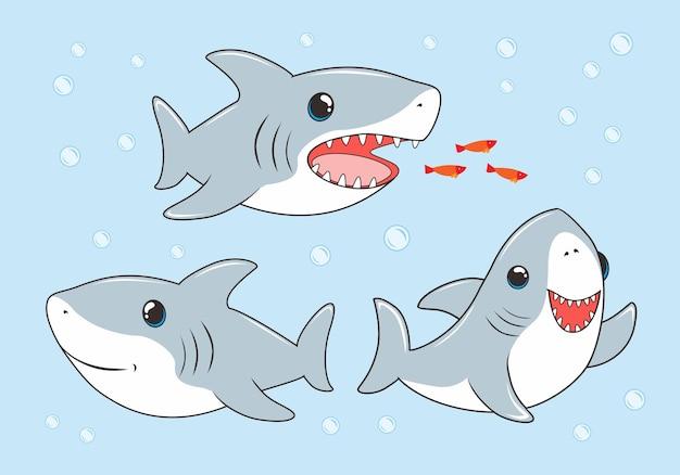 Collection de dessin animé bébé requin