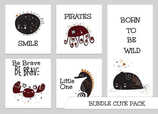 Collection de dessin animé mignon plat sous jeu de cartes d'animaux marins