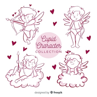 Collection de dessin animé saint valentin cupidon