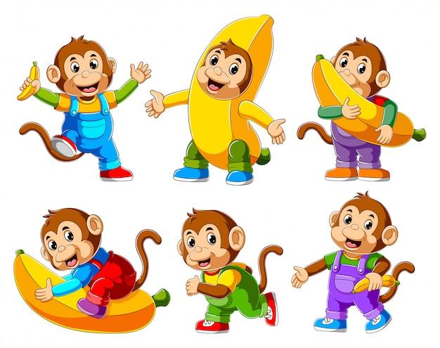 Collection de dessin animé de singe heureux en cours d'exécution