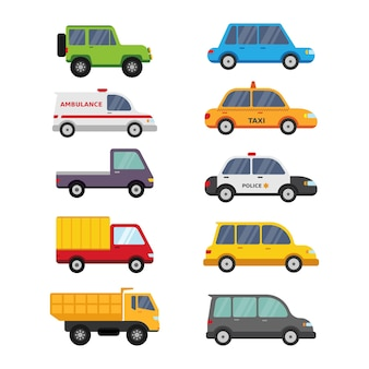 Collection de dessin animé de véhicule voiture mignon isolé sur blanc