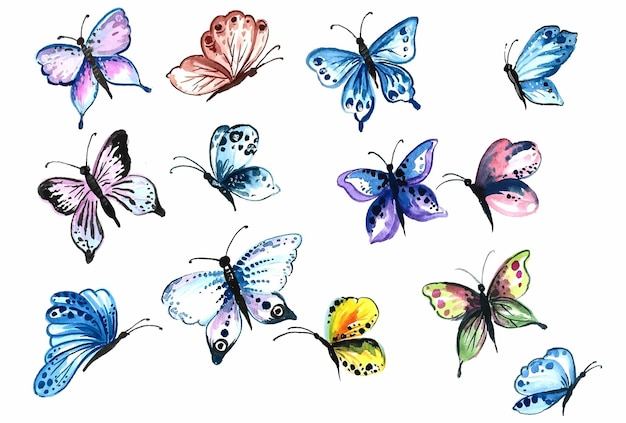 Collection de dessin à la main de jolis papillons colorés à l'aquarelle