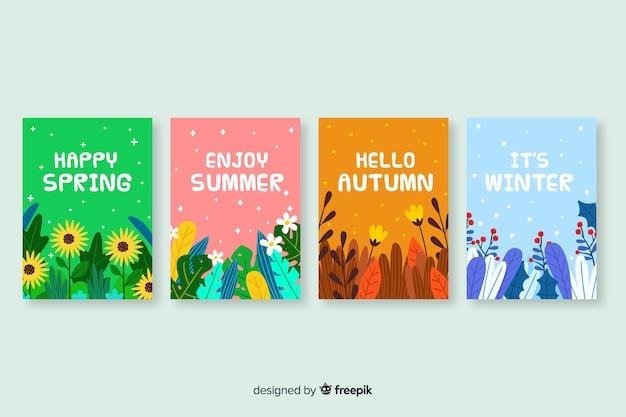 Collection dessinée d'affiches saisonnières à la main