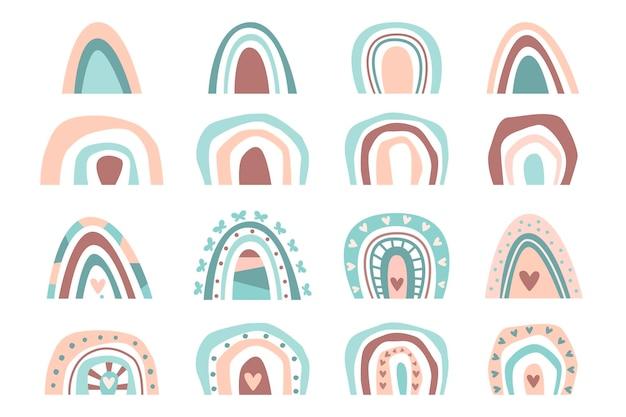 Collection dessinée à la main couleur pastel boho arcs-en-ciel isolé sur fond blanc. plate illustration vectorielle. conception pour baby shower, anniversaire, fête, vacances d'été, impressions