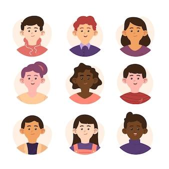 Collection dessinée à la main de différentes icônes de profil