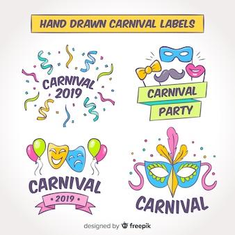 Collection dessinée à la main d'étiquettes de carnaval