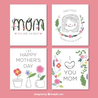 Collection dessinée à la main des grandes cartes de voeux pour la fête des mères