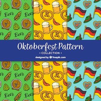 Collection dessinée à la main de motifs de fête allemands