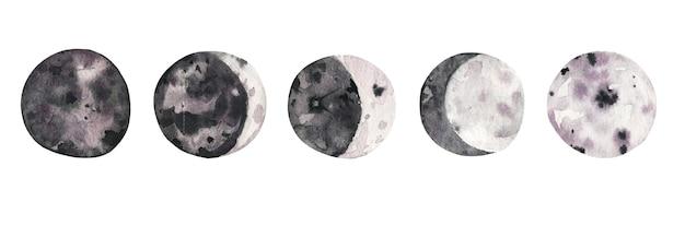 Collection dessinée à la main de phases de lune aquarelle.