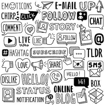 Collection dessinée à la main: termes des médias sociaux
