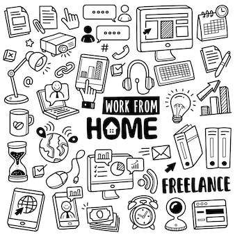 Collection dessinée à la main: travail à domicile