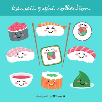 Collection dessinés à la main de sushi kawaii