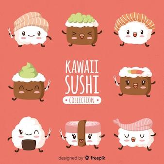 Collection dessinés à la main de sushi kawaii