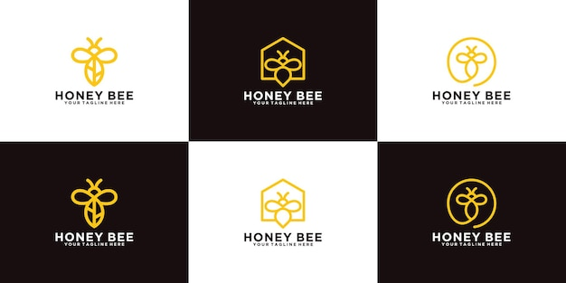 Collection de dessins d'animaux d'abeilles avec un style d'art en ligne