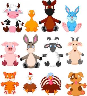Collection de dessins animés d'animaux de ferme
