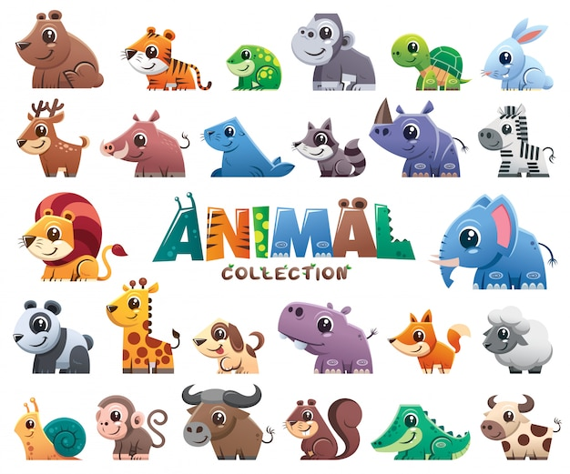 Collection de dessins animés d'animaux sauvages