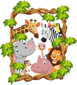 Collection de dessins animés animaux de zoo heureux