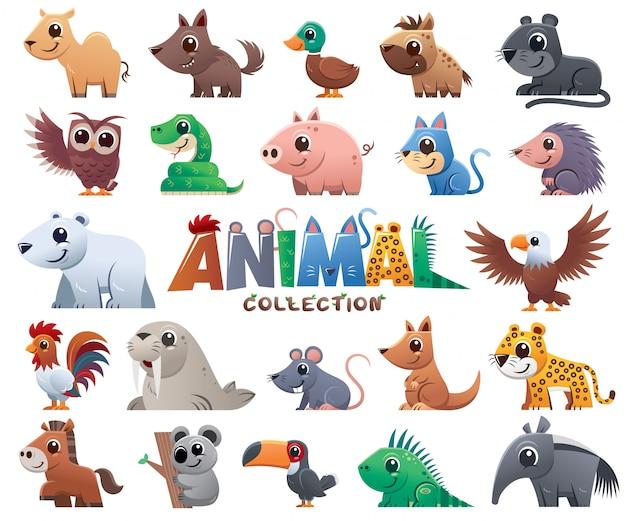 Collection de dessins animés animaux