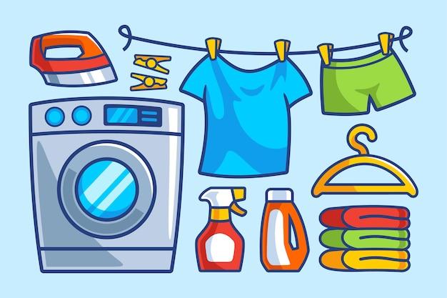 Collection de dessins animés de blanchisserie de machine à laver
