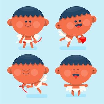 Collection de dessins animés cupidon design plat
