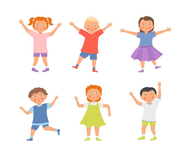 Collection de dessins animés enfants heureux isolé sur blanc
