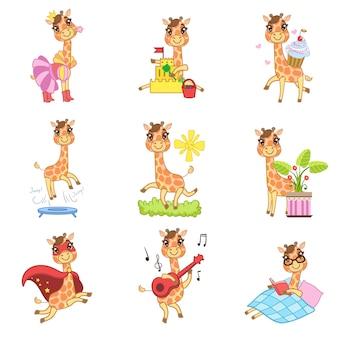 Collection de dessins animés de girafe mignonne