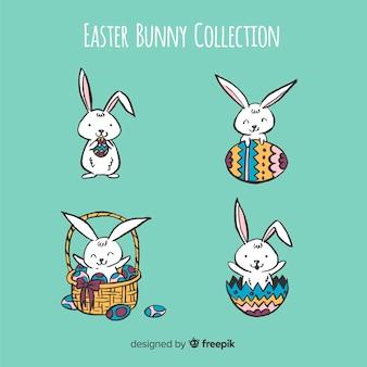 Collection de dessins animés de lapins de pâques