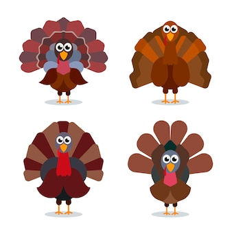 Collection de dessins animés de turquie signe de célébration happy thanksgiving