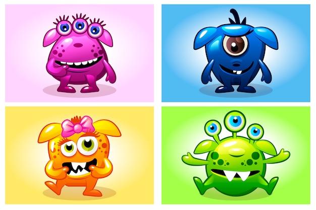 Collection de dessins animés de vecteur quatre monstres de bébés mignons