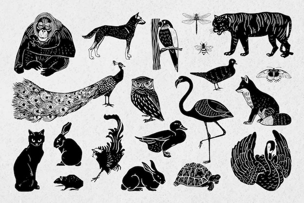 Collection de dessins au pochoir de linogravure noire animaux