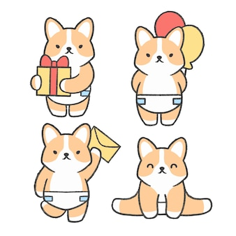 Collection de dessins dessinés à la main corgi peu