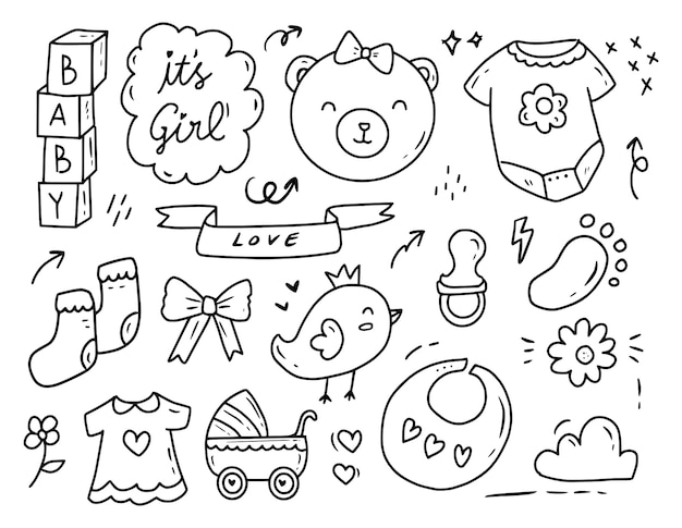 Collection de dessins de doodle fête de douche bébé fille nouveau-né