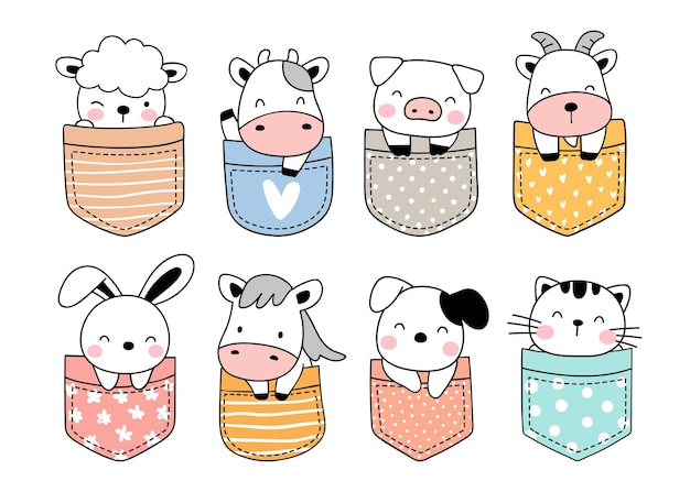 Collection de dessins de ferme d'animaux mignons dans la poche