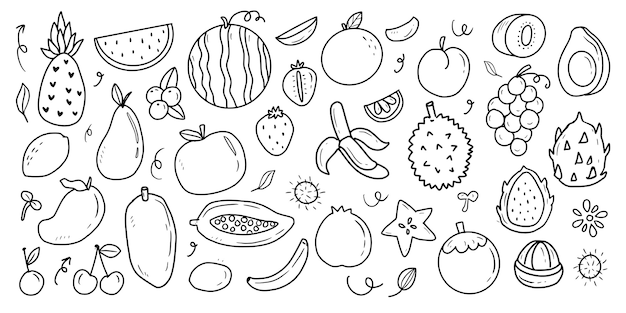 Collection de dessins de fruits tropicaux