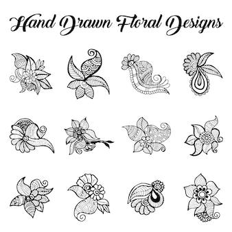 Collection de dessins à la main dessinée au henné