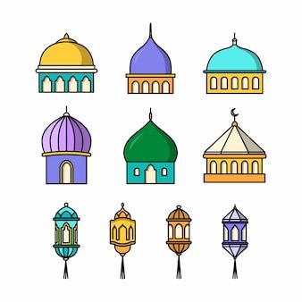 Collection de dessins de mosquées et de lanternes