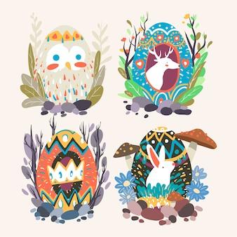 Collection de dessins d'oeufs de pâques