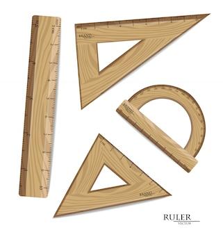 Collection de dessins de règles en bois