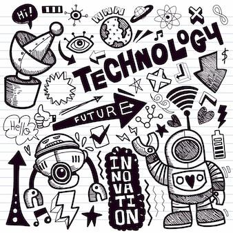 Collection de dessins de technologie doodle.illustrations de doodle dessinés à la main en style cartoon.
