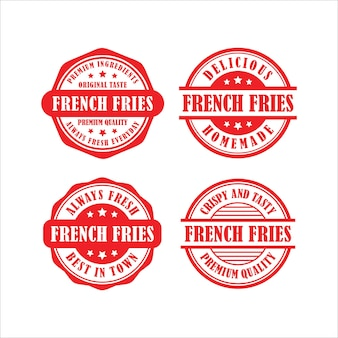 Collection de dessins vectoriels de timbres frites