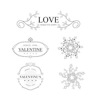Collection de dessins vintage saint valentin