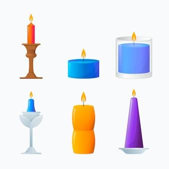 Collection détaillée de bougies parfumées colorées