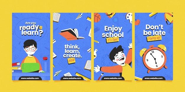 Collection détaillée d'histoires instagram de retour à l'école