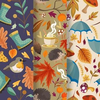 Collection détaillée de motifs d'automne