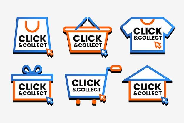 Collection Détaillée De Panneaux Click And Collect Vecteur gratuit